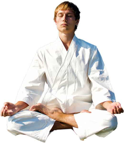 Martial Arts Lessons for Adults in _Williamsburg_ _VA_ - Young Man Thinking and Meditating in White