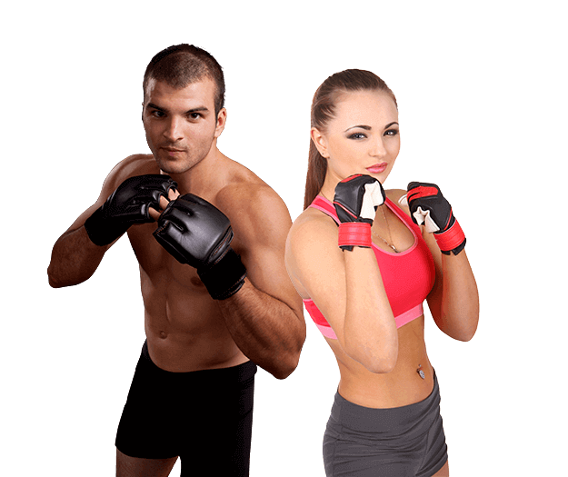 Mixed Martial Arts Lessons for Adults in _Williamsburg_ _VA_ - Hands up Fitness MMA Man and Woman Footer Banner
