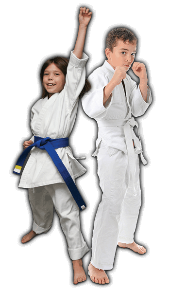 Martial Arts Lessons for Kids in _Williamsburg_ _VA_ - Happy Blue Belt Girl and Focused Boy Banner